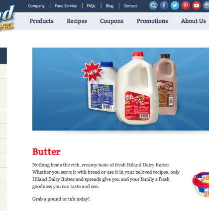 retail food industry Hiland Dairy website content